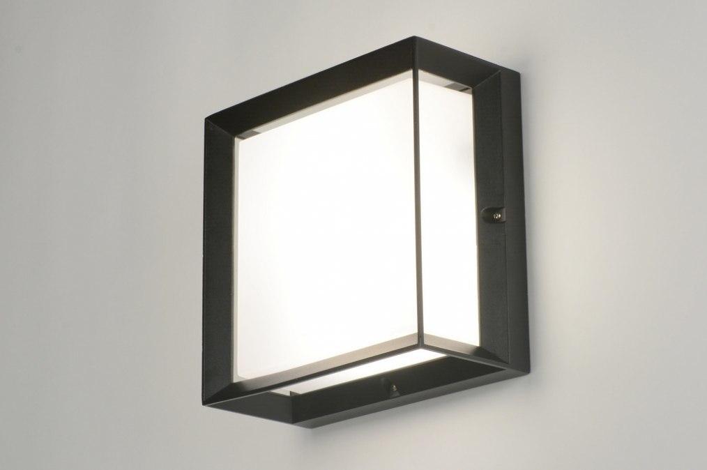 Wandlamp 71517: aluminium, kunststof, polycarbonaat slagvast, zwart #0