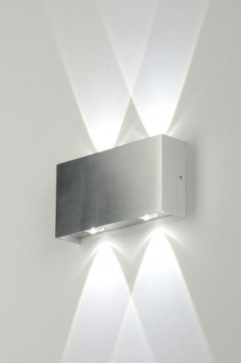Wandlamp 71541: design, modern, geschuurd aluminium, metaal #0