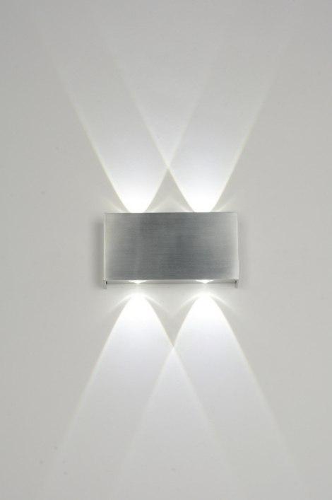 Wandlamp 71541: Modern, Design, Aluminium, Geschuurd Aluminium