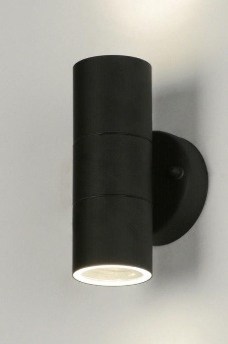 Wandlamp 71571: modern, staal rvs, metaal, zwart #0