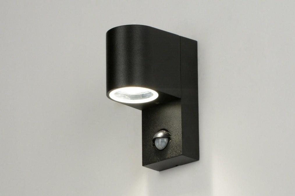 Wandlamp 71610: modern, zwart, mat, aluminium #0