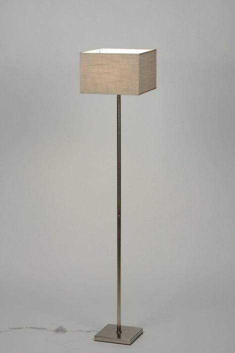 Vloerlamp 71807: modern, eigentijds klassiek, taupe, staal rvs #0