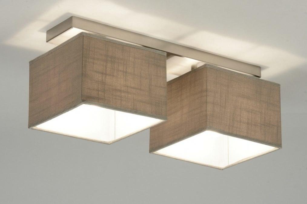Plafondlamp 71809: modern, eigentijds klassiek, stof, bruin #0