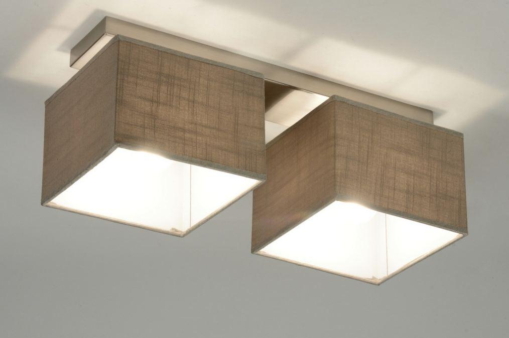 Plafondlamp 71809 modern eigentijds klassiek bruin taupe - Bruin taupe ...