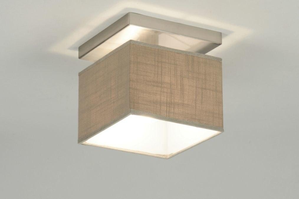 Plafondlamp 71810: modern, stof, taupe, vierkant #0