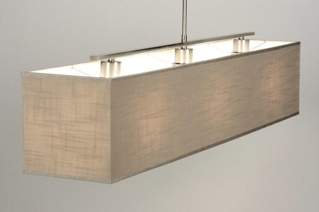suspension 71813 moderne taupe etoffe rectangulaire. Black Bedroom Furniture Sets. Home Design Ideas