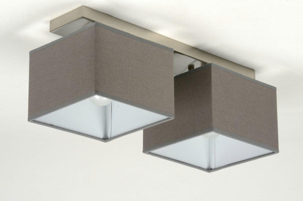 Plafondlamp 71820 modern eigentijds klassiek grijs stof - Eigentijds huis grijs ...
