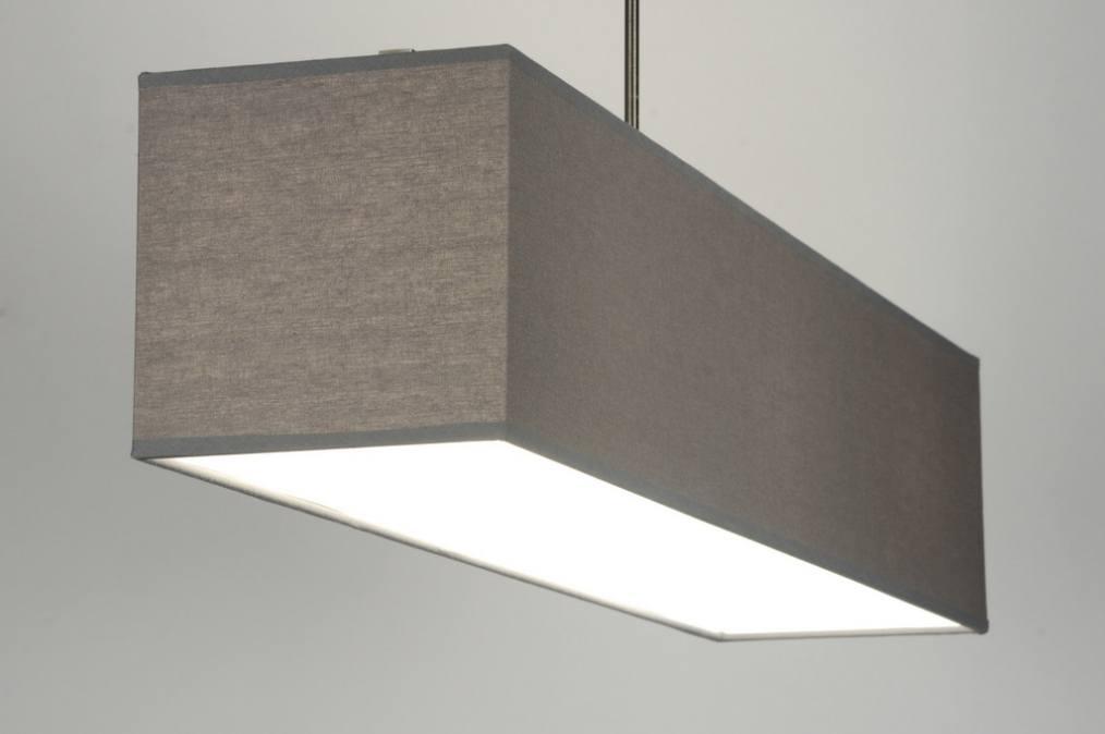 pendelleuchte 71824 modern grau stoff rechteckig. Black Bedroom Furniture Sets. Home Design Ideas