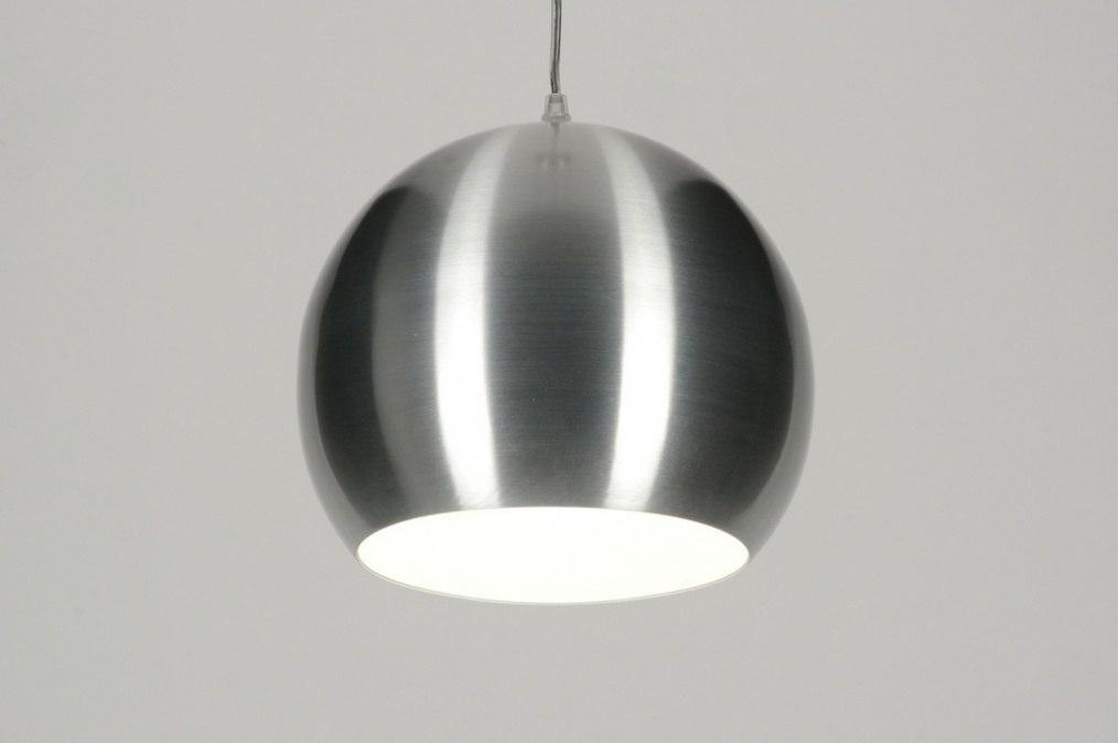 Hanglamp 71839: modern, retro, geschuurd aluminium, metaal #0