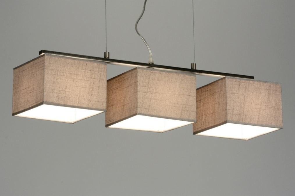 Hanglamp 72020: modern, stof, taupe, langwerpig #0