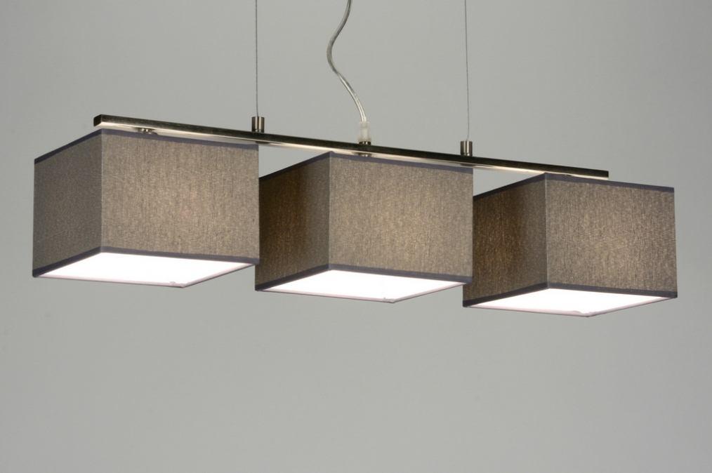 pendelleuchte 72021 modern grau stoff rechteckig. Black Bedroom Furniture Sets. Home Design Ideas
