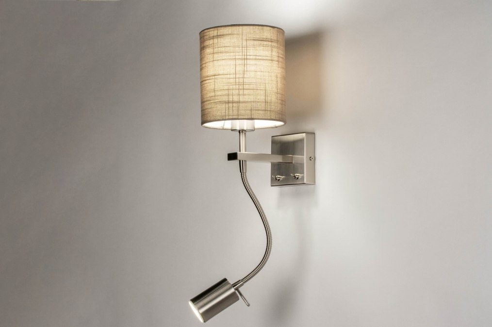 Wandlamp 72047: modern, eigentijds klassiek, stof, taupe #0