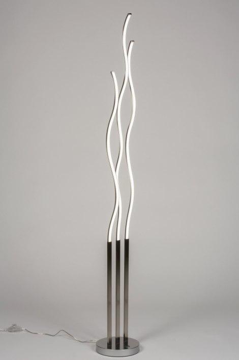 Lampadaire 72329: design, moderne, acier poli, gris d acier #0