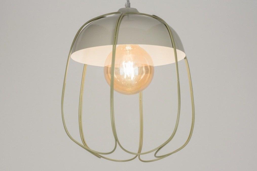 Hanglamp 72446: modern, metaal, grijs, groen #0