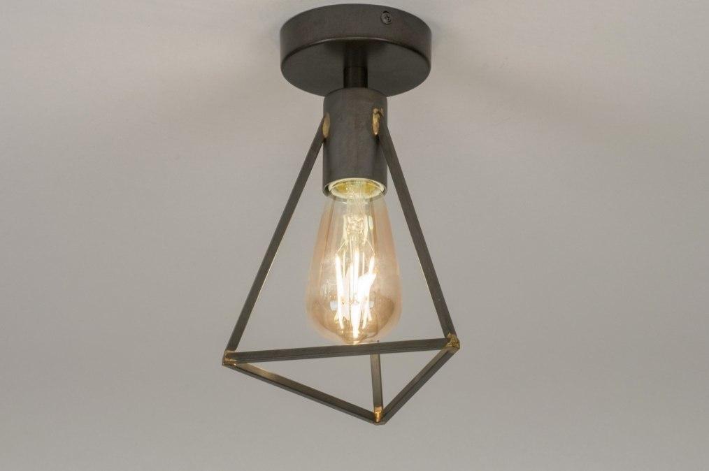 Plafondlamp 72550: modern, stoer, raw, gunmetal (oldmetal) #0