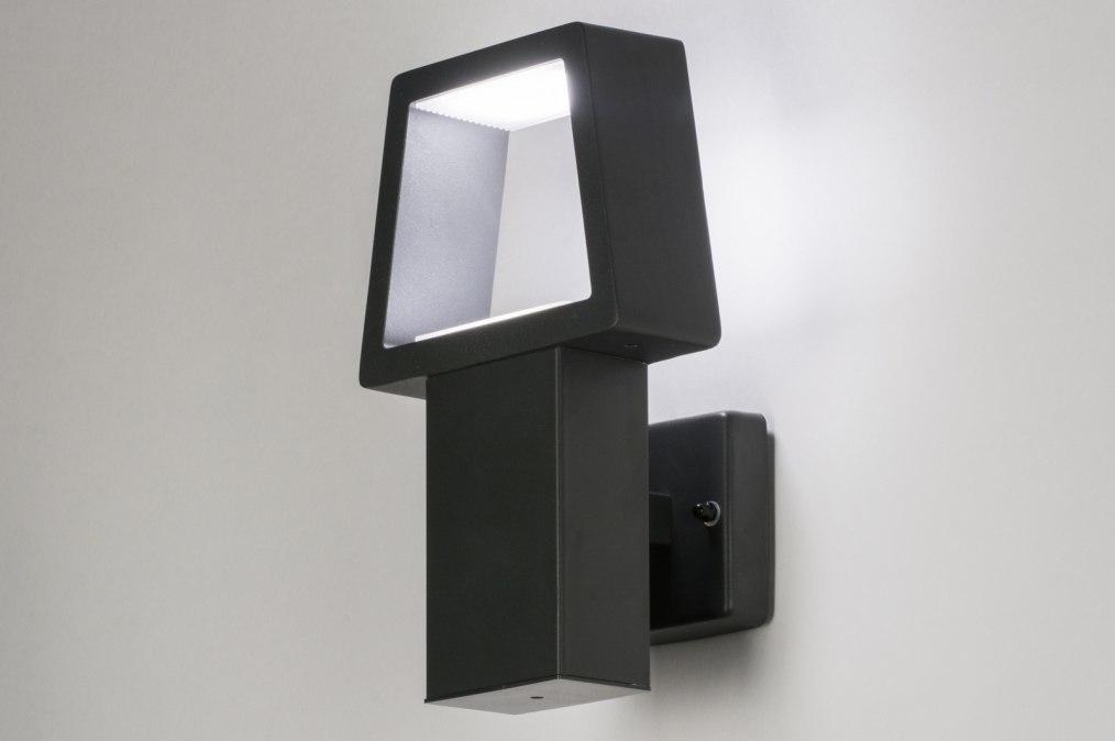 Wandlamp 72590: design, modern, metaal, zwart #0