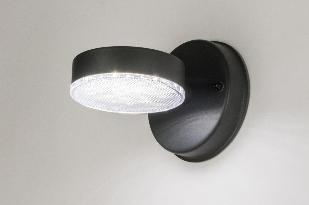 Wandlamp 72596: modern, antraciet donkergrijs, metaal, rond #0