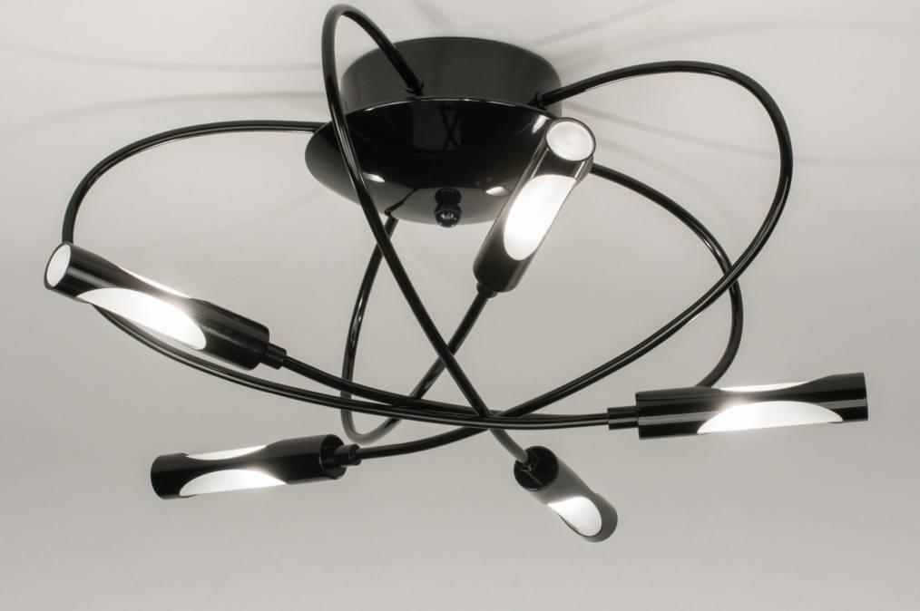 Plafondlamp 72600: modern, eigentijds klassiek, zwart, glans #0