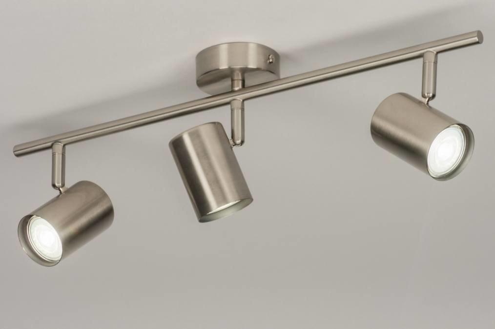 Plafondlamp 72609: modern, staalgrijs, metaal, staal rvs #0