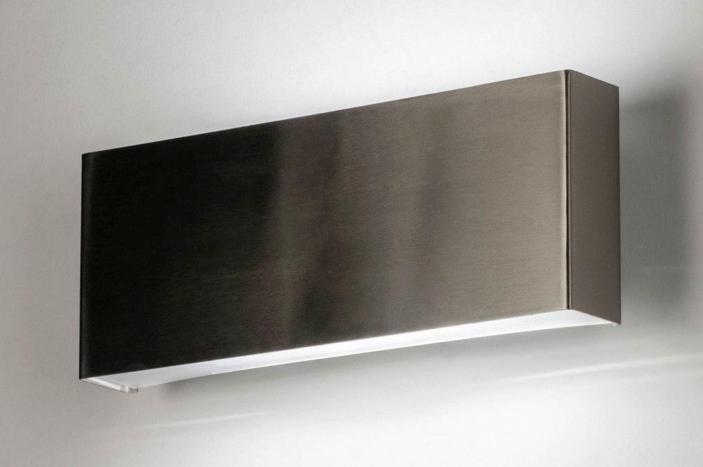 Wall lamp 72638: modern, stainless steel, metal, steel gray #0