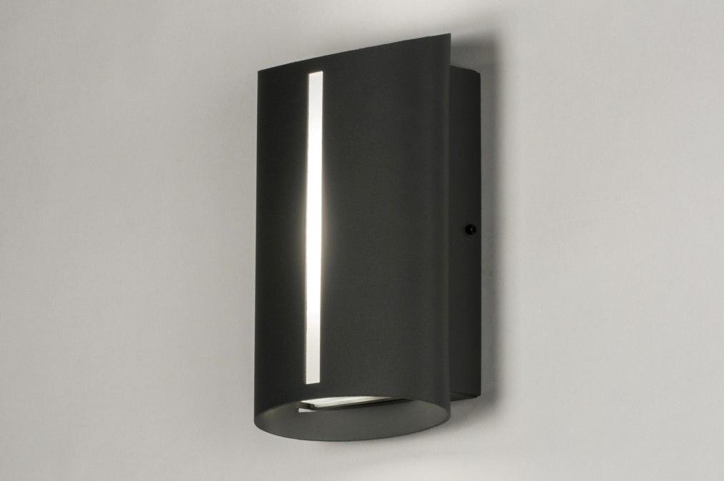Wandlamp 72640: modern, antraciet donkergrijs, aluminium, metaal #0