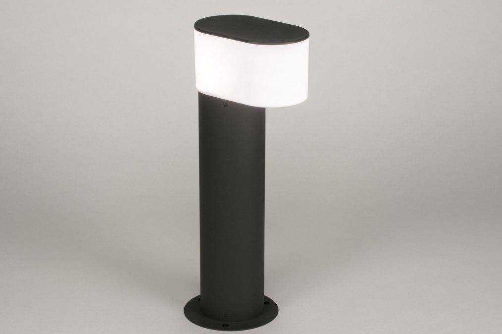 Buitenlamp 72644: modern, antraciet donkergrijs, wit, glans #0