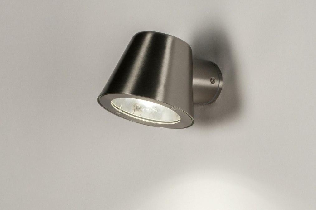 Wandlamp 72653: modern, staal rvs, metaal, staalgrijs #0