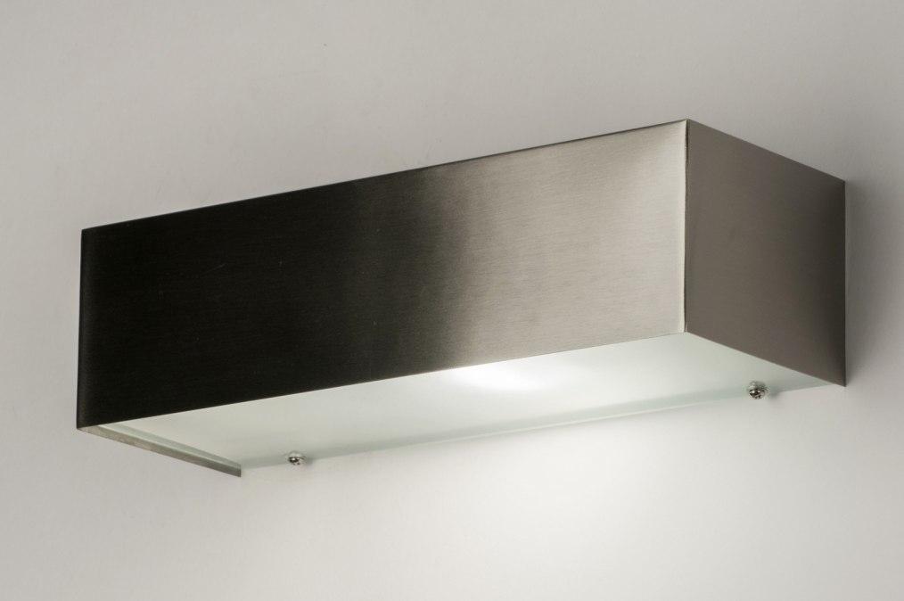 Wandlamp 72664: modern, staal rvs, metaal, staalgrijs #0