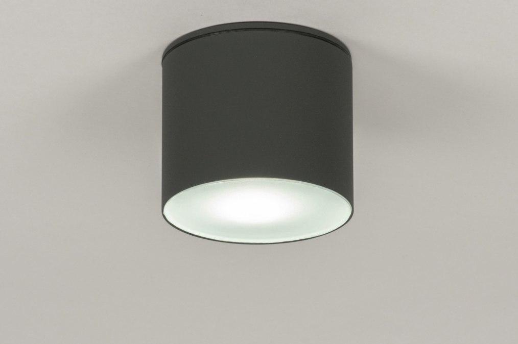 Plafondlamp 72665: modern, aluminium, antraciet donkergrijs, rond #0