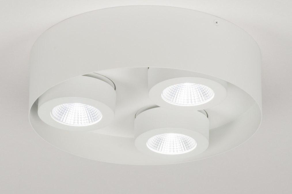 Plafondlamp 72697: modern, wit, mat, metaal #0