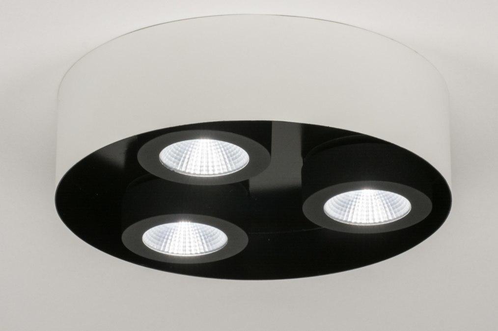 Plafondlamp 72699: modern, wit, mat, zwart #0