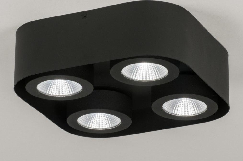 Plafondlamp 72701: design, modern, metaal, zwart #0