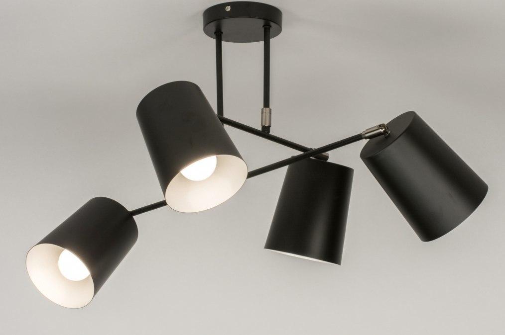 Plafondlamp 72770: modern, metaal, zwart, mat #0