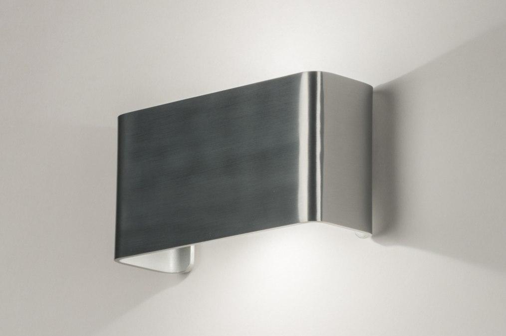 Wandlamp 72805: design, modern, aluminium, geschuurd aluminium #0