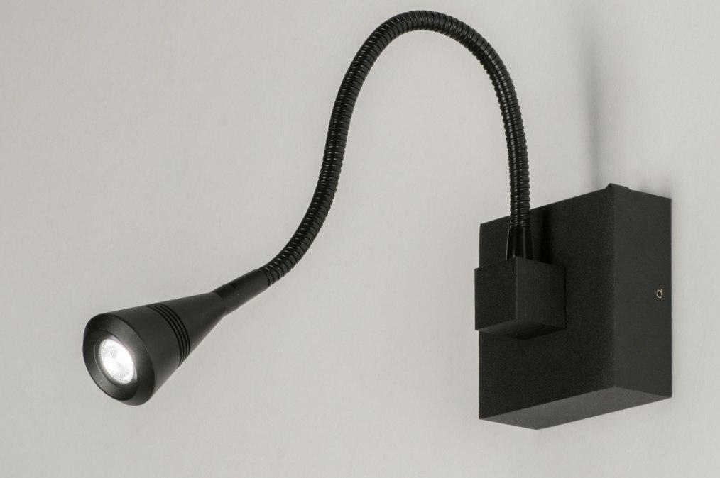 Wandlamp 72816: modern, zwart, mat, aluminium #0