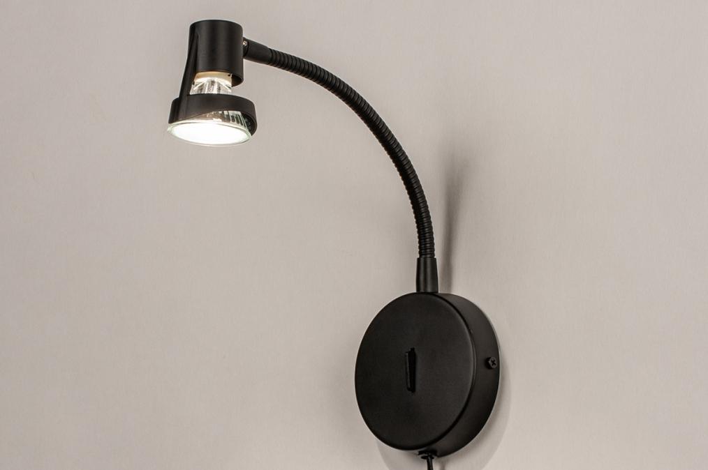 Wandlamp 72843: modern, metaal, zwart, mat #0