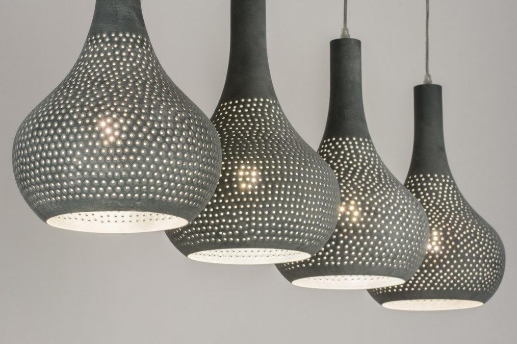 Hanglamp 72891: modern, metaal, betongrijs, langwerpig #0