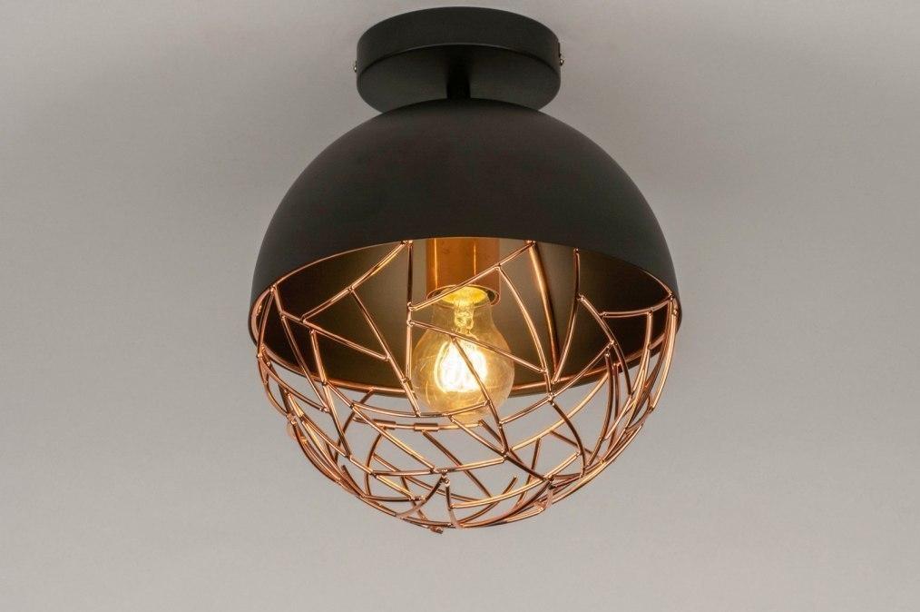 Plafondlamp 72894: modern, eigentijds klassiek, retro, koper #0