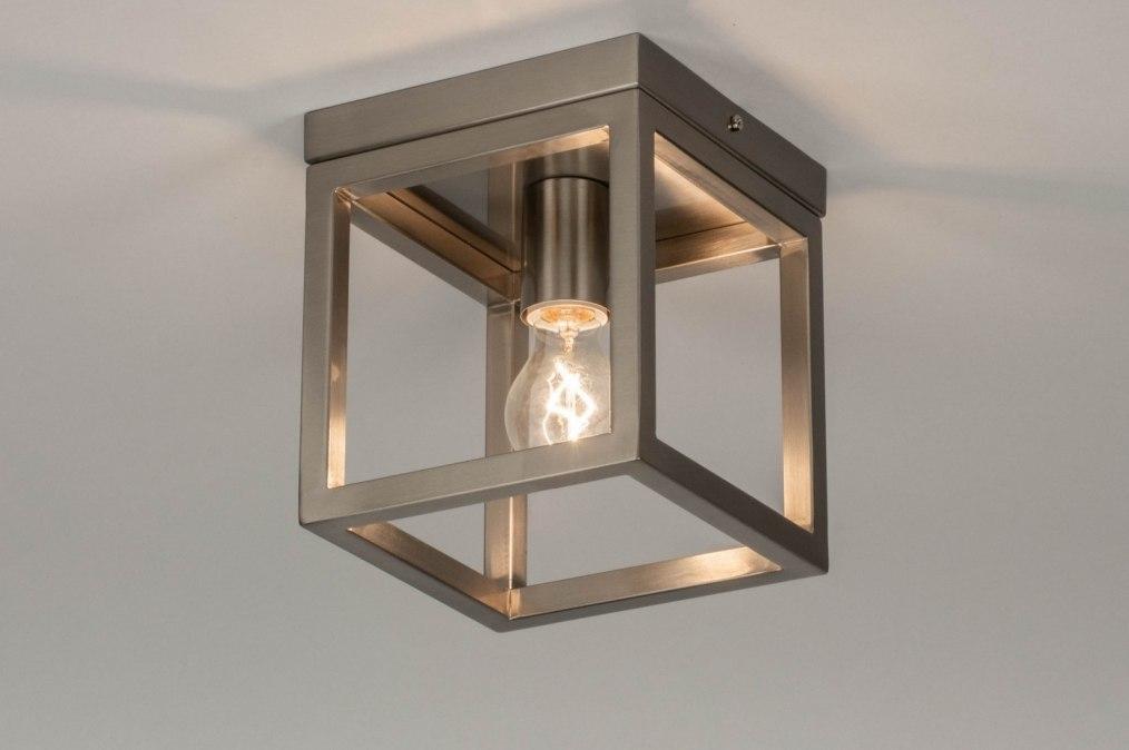 Plafondlamp 72913: modern, staal rvs, metaal, staalgrijs #0