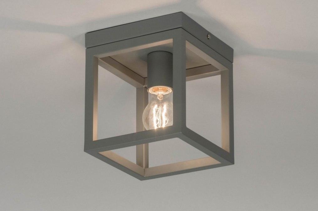 Plafondlamp 72914: modern, metaal, grijs, betongrijs #0