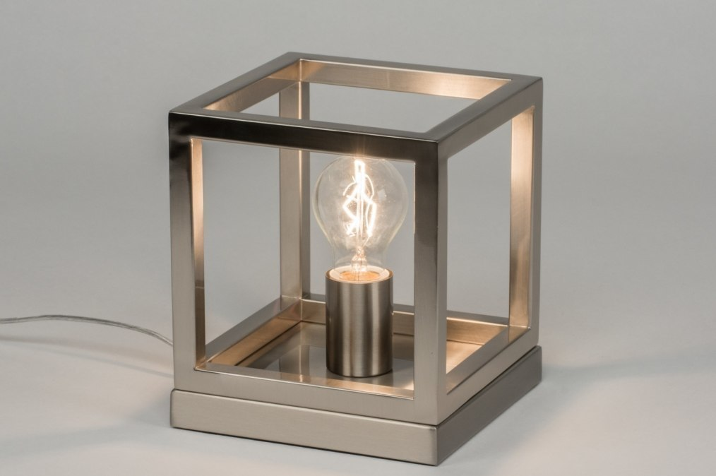 Tafellamp 72919: modern, staalgrijs, metaal, staal rvs #0