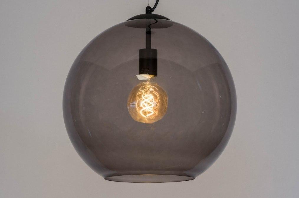 Hanglamp 72944: modern, retro, glas, zwart #0