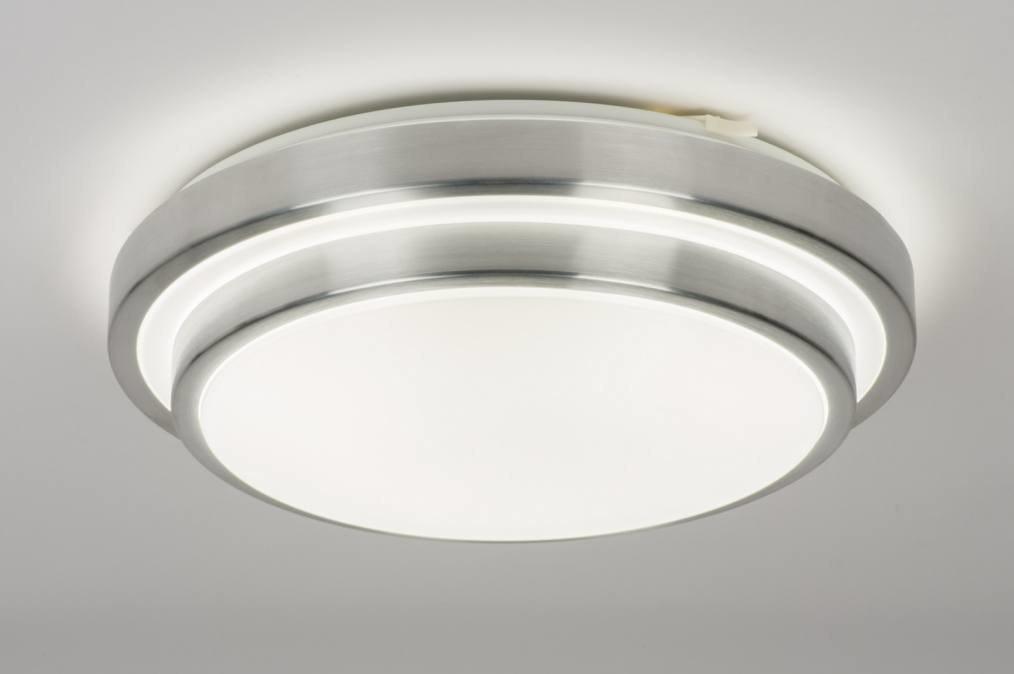 Plafondlamp 72966: modern, aluminium, kunststof, wit #0