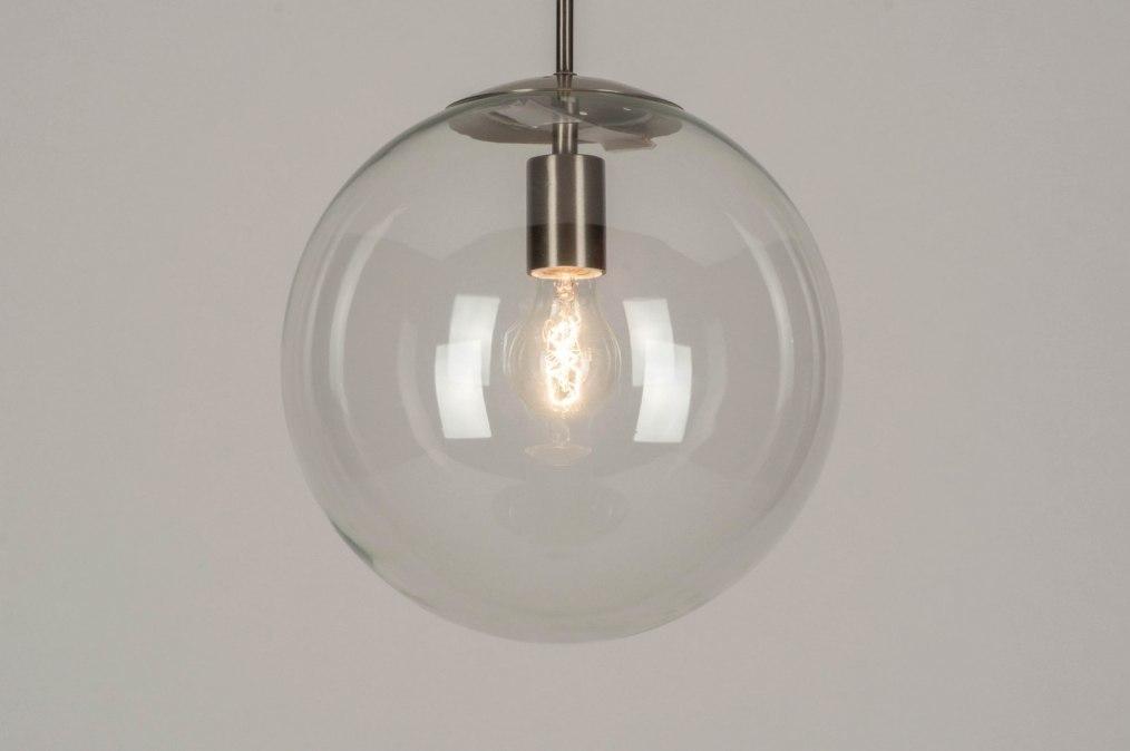 Hanglamp 72999: modern, retro, staalgrijs, transparant kleurloos #0
