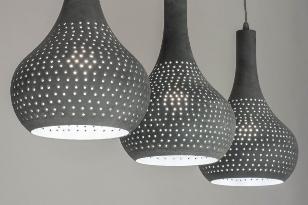 Hanglamp 73017: modern, metaal, betongrijs, langwerpig #0