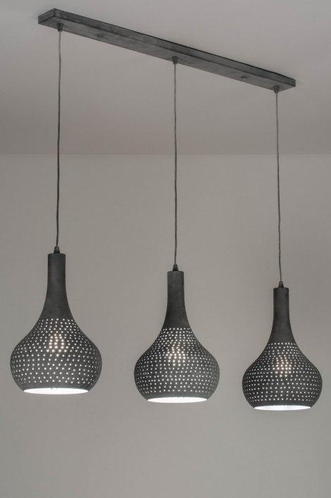pendelleuchte 73017 modern metall betongrau laenglich. Black Bedroom Furniture Sets. Home Design Ideas