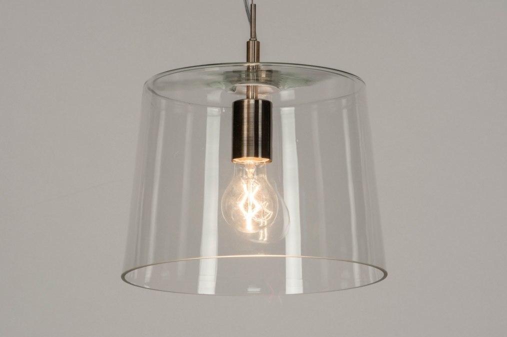 Hanglamp 73053: modern, glas, helder glas, staal rvs #0