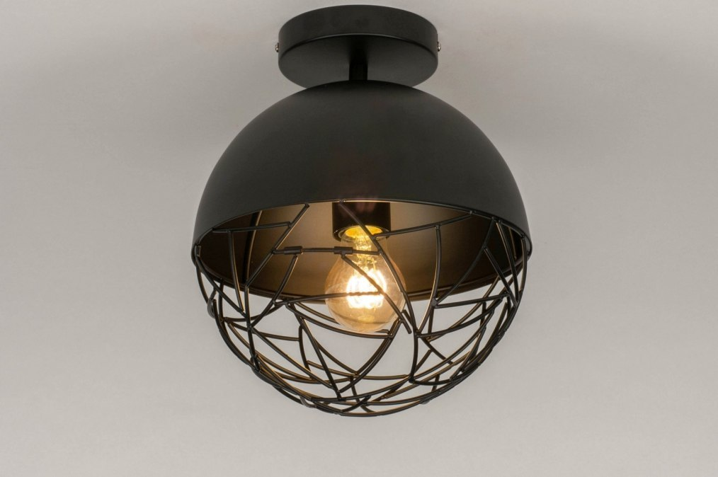 Plafondlamp 73177: modern, retro, metaal, zwart #0