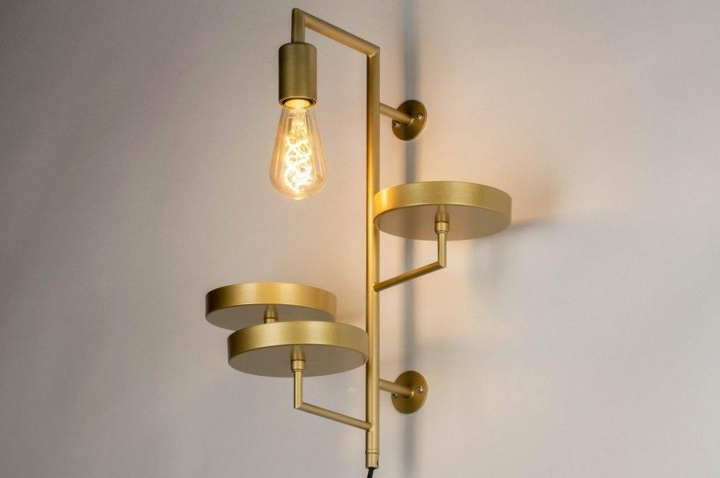 Wandlamp 73248: modern, metaal, goud, rond #0