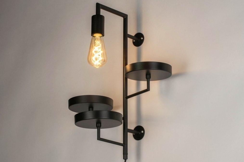 Wandlamp 73249: modern, metaal, zwart, mat #0